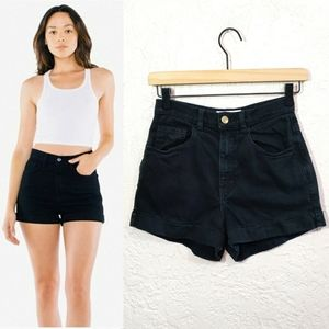 American Apparel Jean High Rise Black Denim Shorts